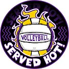 Volleyball Served Hot Purple Yellow Vball  by MudgeStudios
