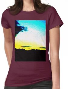 White Sunset Womens Fitted T-Shirt