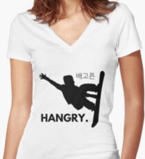 Snowboard Shirt - Hangry Snowboarder Winter Games Olympics 2018 Women's Fitted V-Neck T-Shirt