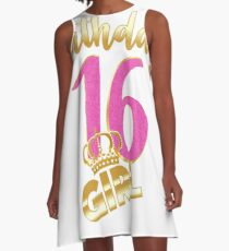 16th birthday- Sweet Sixteen- Gold Crown Girl T-shirt A-Line Dress