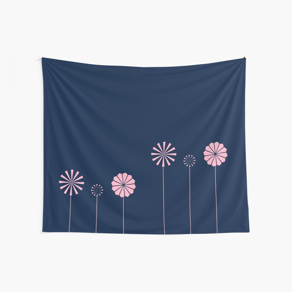 Pink Flowers at Night Wall Tapestry