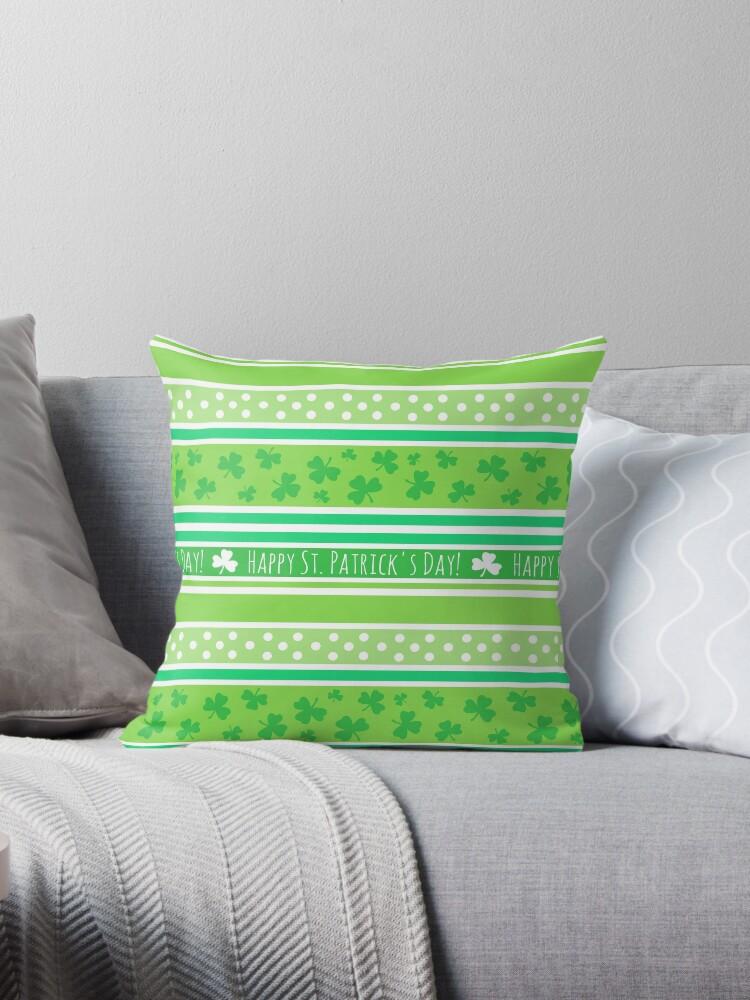 Happy St Patrick's Day Green Stripes Pattern by ArtVixen