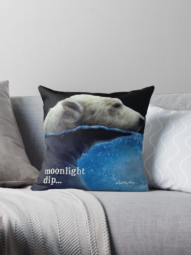 Will Bullas / pillow / tote / moonlight dip... / humor / animals by Will Bullas