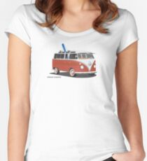 23 Window Split VW Bus Red with Surfboard Peace Women's Fitted Scoop T-Shirt
