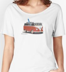 23 Window Split VW Bus Red with Surfboard Peace Women's Relaxed Fit T-Shirt
