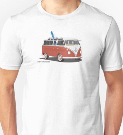 23 Window Split VW Bus Red with Surfboard Peace T-Shirt
