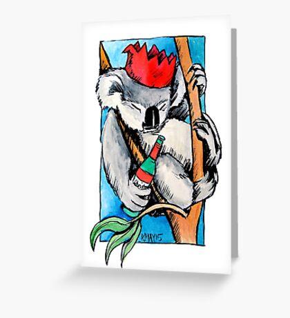 Koala Christmas drinks Greeting Card