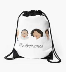 The Supremes (black text/white background) Drawstring Bag