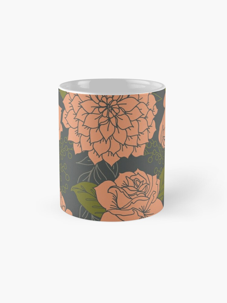 Alternate view of Floral Pattern in Coral and Green Mugs