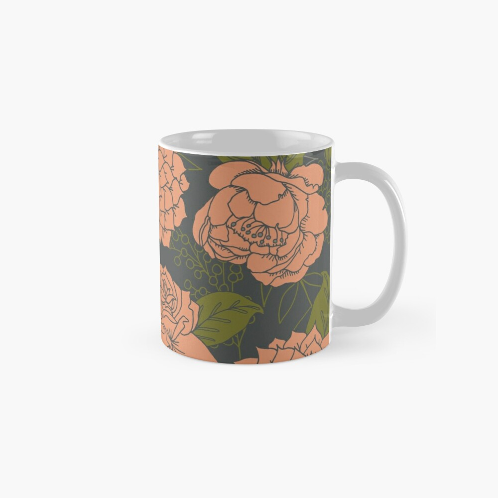 Floral Pattern in Coral and Green Mugs