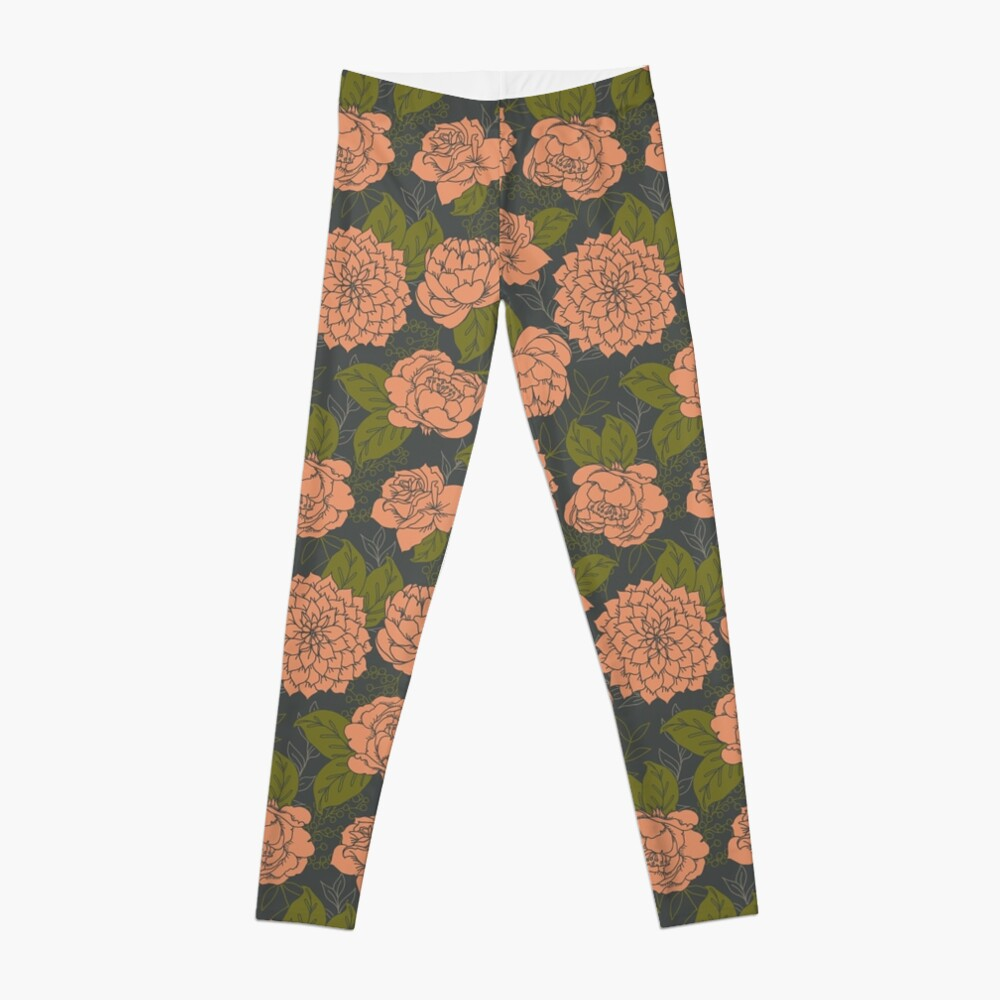 Floral Pattern in Coral and Green Leggings