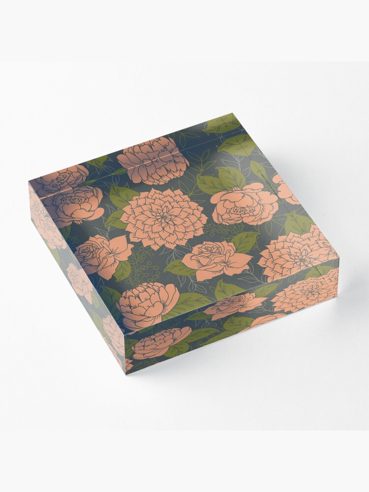 Alternate view of Floral Pattern in Coral and Green Acrylic Block