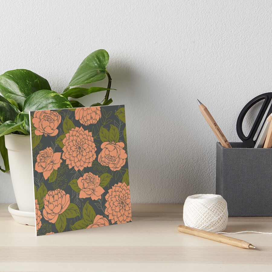 Floral Pattern in Coral and Green Art Board Print