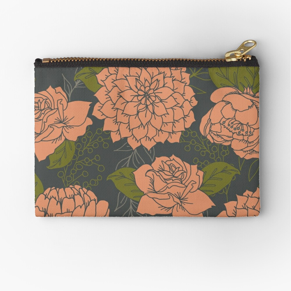 Floral Pattern in Coral and Green Zipper Pouch