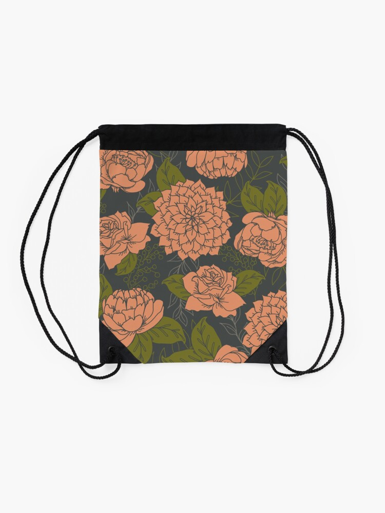 Alternate view of Floral Pattern in Coral and Green Drawstring Bag