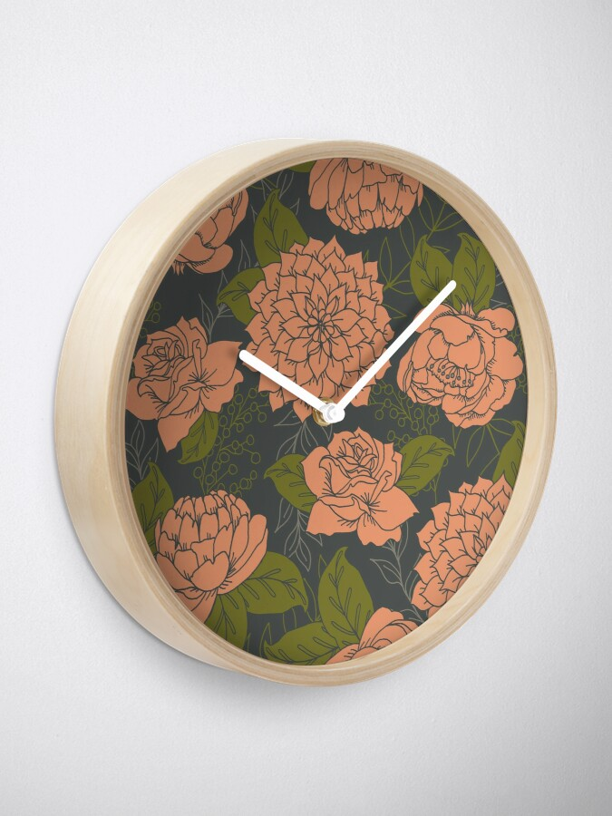 Alternate view of Floral Pattern in Coral and Green Clock
