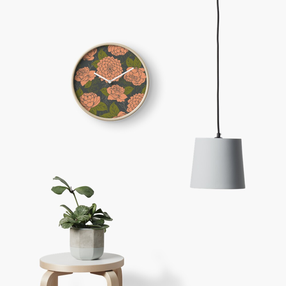 Floral Pattern in Coral and Green Clock