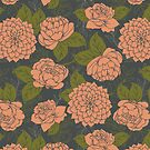 Floral Pattern in Coral and Green by latheandquill