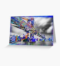 New York City Manhattan Bridge Pure Pop Blue Greeting Card