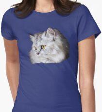 Silver Persian Doll Face Cat Kitten Women's Fitted T-Shirt