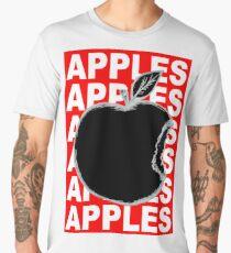 Black and White Apple Fruit Food on Red Background Design Drawing Ilustration Men's Premium T-Shirt