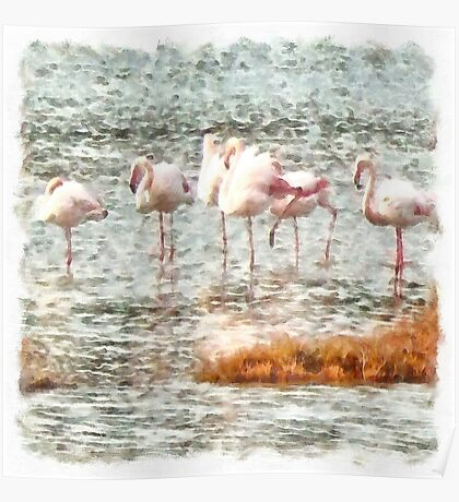 Six Flamingos A Wading Watercolor Poster