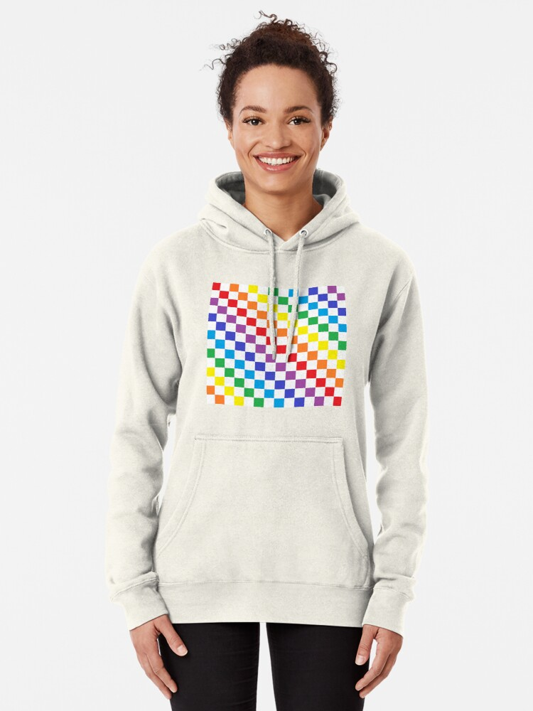 Alternate view of Checkered Rainbow  Pullover Hoodie