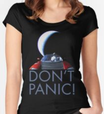 Spacex Starman DON'T PANIC Women's Fitted Scoop T-Shirt