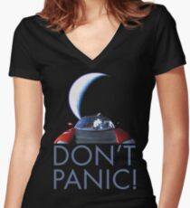 Spacex Starman DON'T PANIC Women's Fitted V-Neck T-Shirt