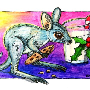 Kangaroo Joey eating Santa's Cookie by amayzing