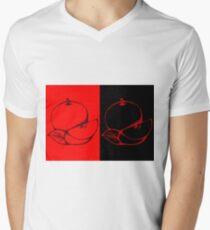 Black and Red Apple Fruit Food on Red and Black Background Design Drawing illustration Men's V-Neck T-Shirt