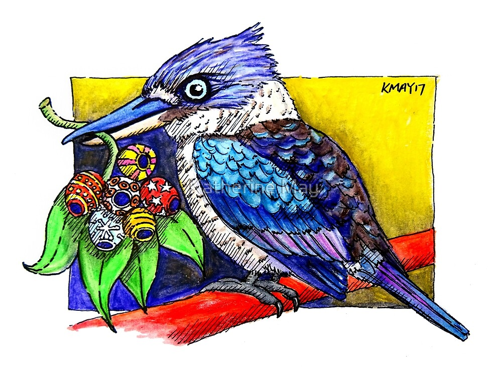 Kookaburra with Christmas Gumnuts by Katherine May