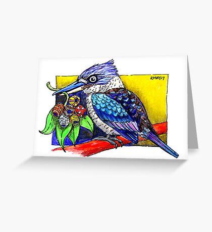 Kookaburra with Christmas Gumnuts Greeting Card