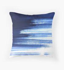 Blue Paint Brush Strokes Throw Pillow