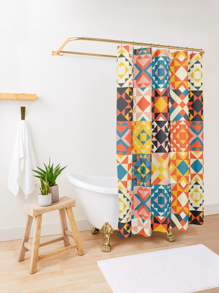 Alternate view of maroccan tile mosaic pattern no2 Shower Curtain