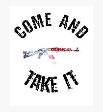 Come And Take It american flag gun army military slogan Photographic Print