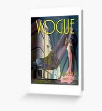 VOGUE : Vintage 1921 Stepping Out Magazine Advertising Print Greeting Card