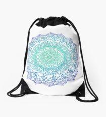 Sea coloured Mandala Drawstring Bag