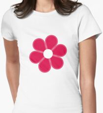 Red flower seamless pattern Women's Fitted T-Shirt