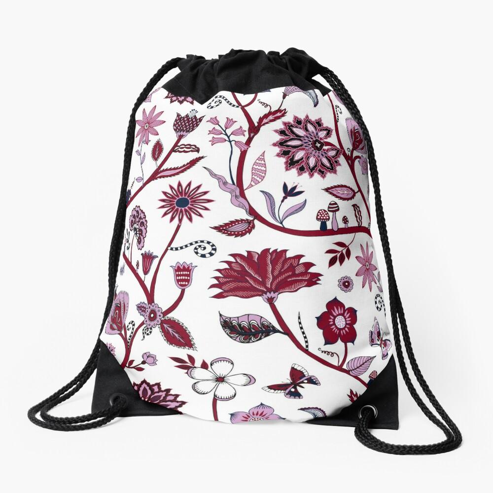 Fantasy Indian Floral - elegant, romantic pattern by Cecca Designs Drawstring Bag Front
