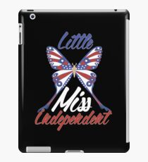 Little Miss Independent Patriotic Butterfly 4th of July T-Shirt iPad Case/Skin