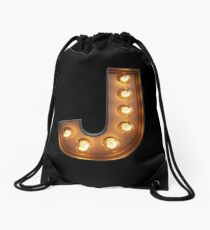 J Initial Neon Light Drawstring Bag