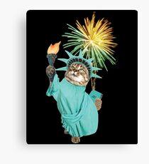 Statue Of Liberty Cat Kitten Fireworks  July 4th Canvas Print