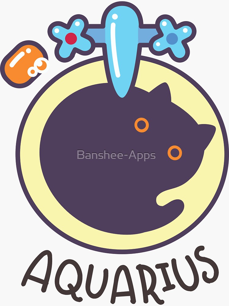 Funny Aquarius Cat Horoscope Tshirt - Astrology and Zodiac Gift Ideas! by Banshee-Apps