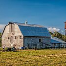 Barn with water tower by PhotosByHealy