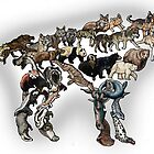 Caniformia Evolution Colour - Canines, Dogs, Wolves, Bears, Seals by EvolutionPoster