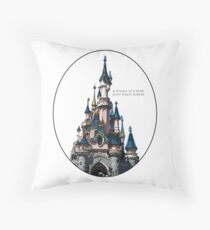 a dream is a wish your heart makes // watercolor disneyland paris castle Throw Pillow