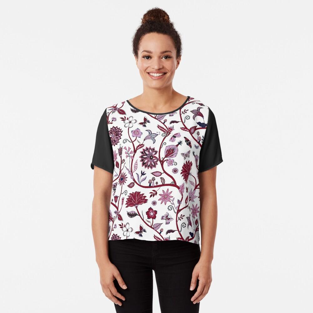 Fantasy Indian Floral - elegant, romantic pattern by Cecca Designs Women's Chiffon Top Front