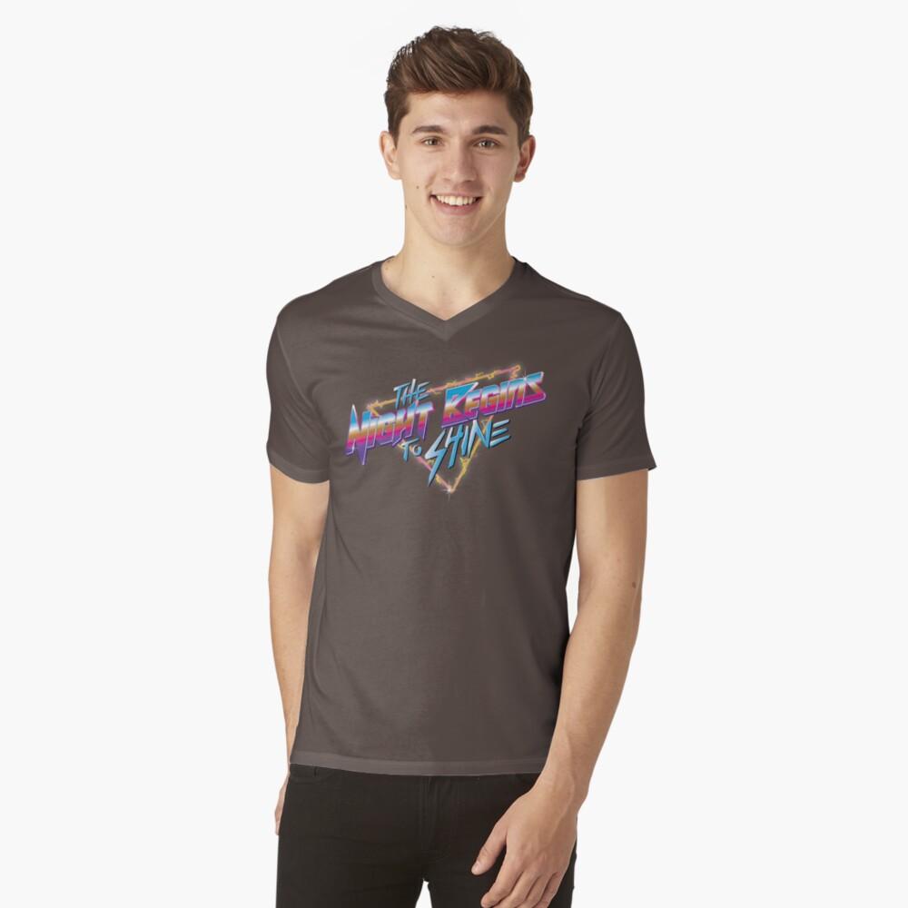 Die Nacht beginnt zu leuchten T-Shirt mit V-Ausschnitt