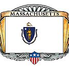 Massachusetts Art Deco Design with Flag by Cleave